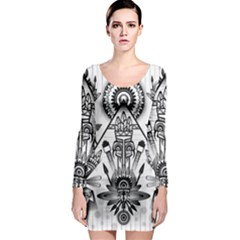 Ancient Parade Ancient Civilization Long Sleeve Bodycon Dress