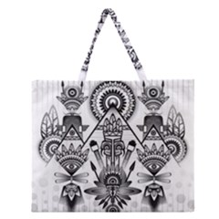 Ancient Parade Ancient Civilization Zipper Large Tote Bag