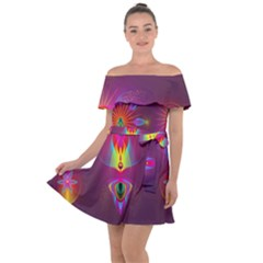 Abstract Bright Colorful Background Off Shoulder Velour Dress by Wegoenart
