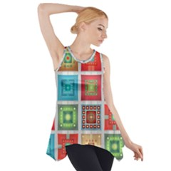 Tiles Pattern Background Colorful Side Drop Tank Tunic