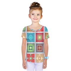 Tiles Pattern Background Colorful Kids  One Piece Tee