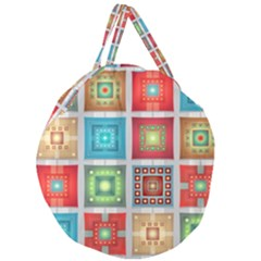 Tiles Pattern Background Colorful Giant Round Zipper Tote