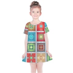 Tiles Pattern Background Colorful Kids  Simple Cotton Dress