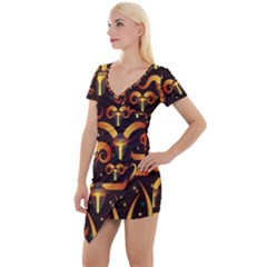 Stylised Horns Black Pattern Short Sleeve Asymmetric Mini Dress by Wegoenart