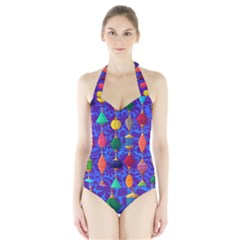 Colorful Background Stones Jewels Halter Swimsuit