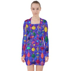 Colorful Background Stones Jewels V Neck Bodycon Long Sleeve Dress