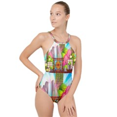 Zen Garden Japanese Nature Garden High Neck One Piece Swimsuit