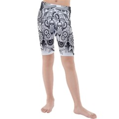Forest Patrol Tribal Abstract Kids  Mid Length Swim Shorts