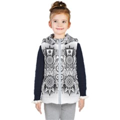 Forest Patrol Tribal Abstract Kids  Hooded Puffer Vest by Wegoenart