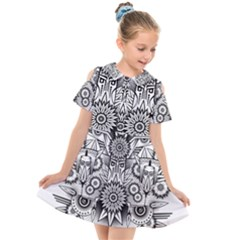 Forest Patrol Tribal Abstract Kids  Short Sleeve Shirt Dress