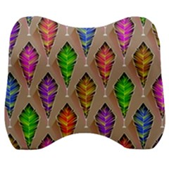 Abstract Background Colorful Leaves Velour Head Support Cushion by Wegoenart