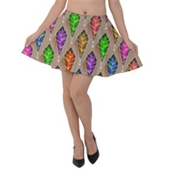 Abstract Background Colorful Leaves Velvet Skater Skirt