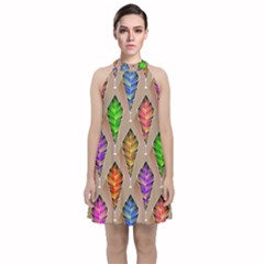 Abstract Background Colorful Leaves Velvet Halter Neckline Dress