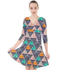 Abstract Geometric Triangle Shape Quarter Sleeve Front Wrap Dress
