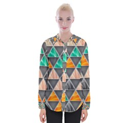 Abstract Geometric Triangle Shape Womens Long Sleeve Shirt