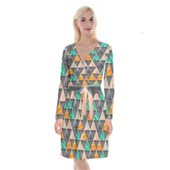 Abstract Geometric Triangle Shape Long Sleeve Velvet Front Wrap Dress