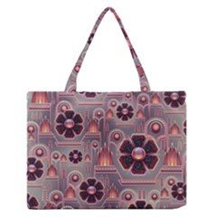 Background Floral Flower Stylised Zipper Medium Tote Bag