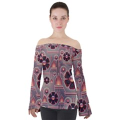 Background Floral Flower Stylised Off Shoulder Long Sleeve Top