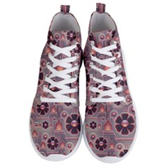 Background Floral Flower Stylised Men s Lightweight High Top Sneakers