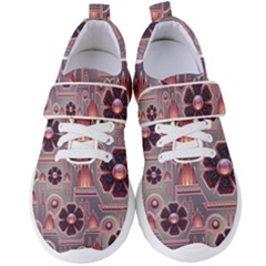 Background Floral Flower Stylised Women s Velcro Strap Shoes