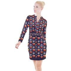 Love Heart Background Button Long Sleeve Dress