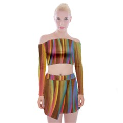 Abstract Background Colorful Off Shoulder Top With Mini Skirt Set
