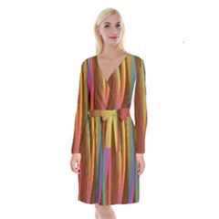 Abstract Background Colorful Long Sleeve Velvet Front Wrap Dress