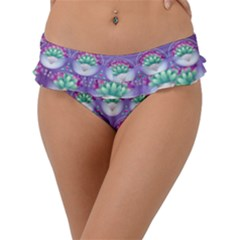 Background Floral Pattern Purple Frill Bikini Bottom