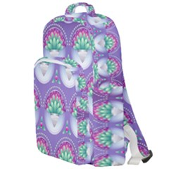 Background Floral Pattern Purple Double Compartment Backpack
