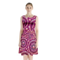 Pink Abstract Background Floral Glossy Sleeveless Waist Tie Chiffon Dress