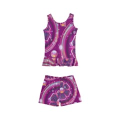 Pink Abstract Background Floral Glossy Kids  Boyleg Swimsuit