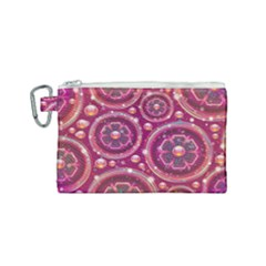 Pink Abstract Background Floral Glossy Canvas Cosmetic Bag (small)