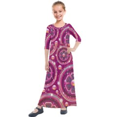 Pink Abstract Background Floral Glossy Kids  Quarter Sleeve Maxi Dress by Wegoenart