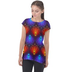 Light Background Colorful Abstract Cap Sleeve High Low Top