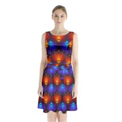 Light Background Colorful Abstract Sleeveless Waist Tie Chiffon Dress