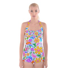 Floral Paisley Background Flower Boyleg Halter Swimsuit