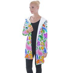 Floral Paisley Background Flower Longline Hooded Cardigan