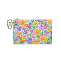 Floral Paisley Background Flower Canvas Cosmetic Bag (small) by Wegoenart
