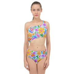 Floral Paisley Background Flower Spliced Up Two Piece Swimsuit
