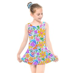 Floral Paisley Background Flower Kids  Skater Dress Swimsuit