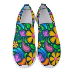 Floral Paisley Background Flowers Women s Slip On Sneakers
