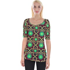 Pattern Background Bright Brown Wide Neckline Tee by Wegoenart