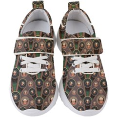 Background Abstract Pattern Green Kids  Velcro Strap Shoes