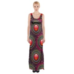 Abstract Circle Gem Pattern Maxi Thigh Split Dress by Wegoenart