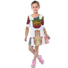 Evil Eye Protection Charm Colorful Kids  Long Sleeve Velvet Dress by Wegoenart