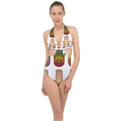 Evil Eye Protection Charm Colorful Halter Front Plunge Swimsuit by Wegoenart