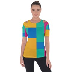 Unique Background Abstract Shoulder Cut Out Short Sleeve Top