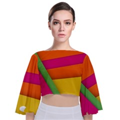Background Abstract Tie Back Butterfly Sleeve Chiffon Top
