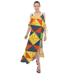 Background Geometric Color Maxi Chiffon Cover Up Dress