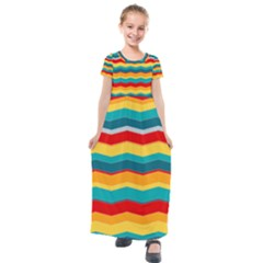 Retro Colors 60 Background Kids  Short Sleeve Maxi Dress by Wegoenart